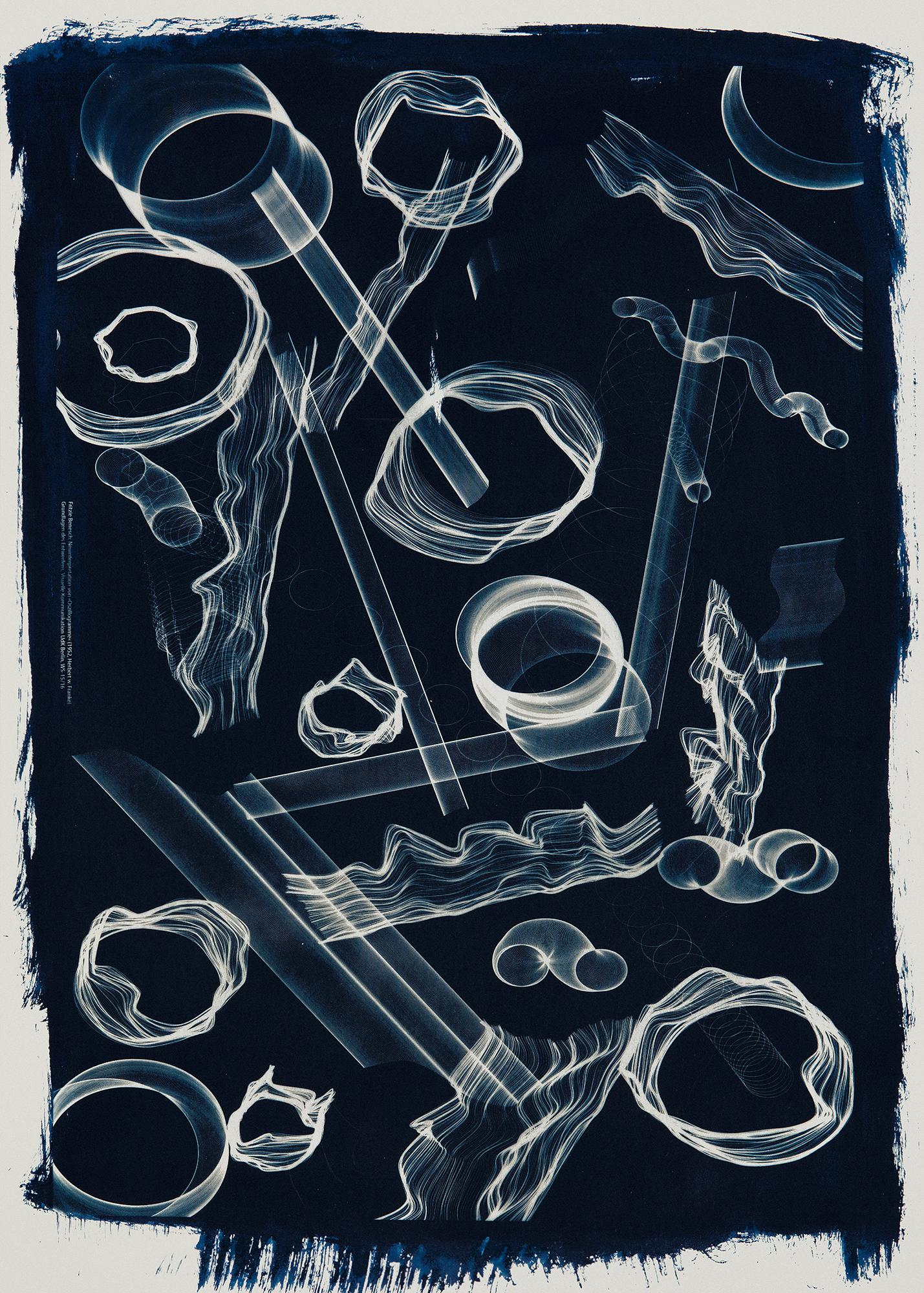 Fritzie Benesch, Inspiration: Prof. Dr. Herbert W. Franke, Oszillogramme/Elektronische Grafiken, 1956–1960