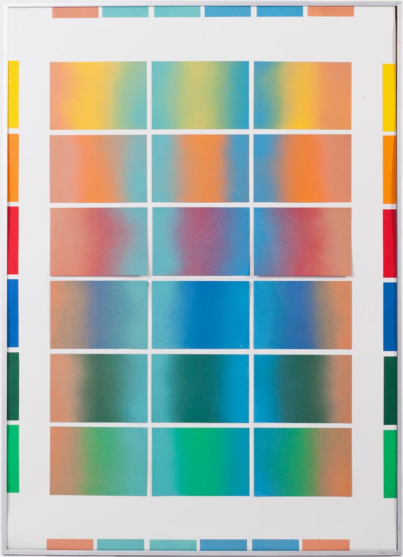 Systematik gesprühter Farbverläufe auf sechs verschiedenfarbenen Papieren. Von Alix Stria.