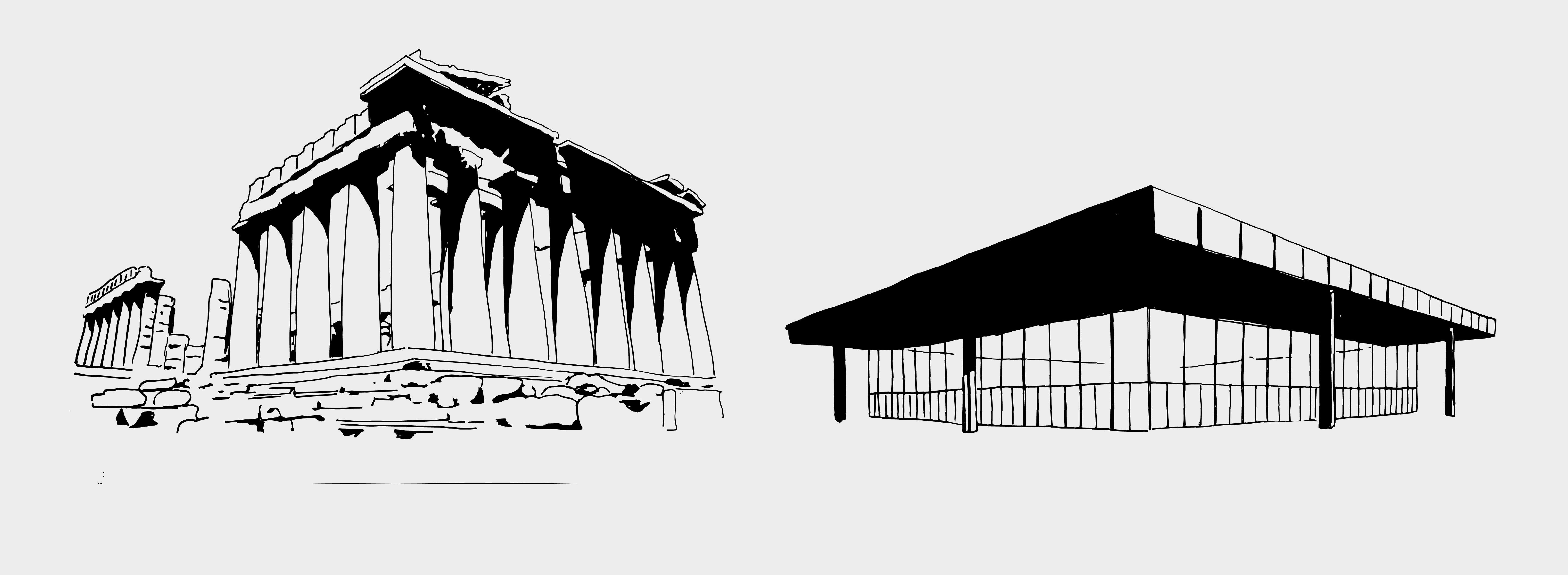 Parthenon Athen, 447 v. Chr. – Ludwig Mies van der Rohe, Neue Nationalgalerie, Berlin, 1968